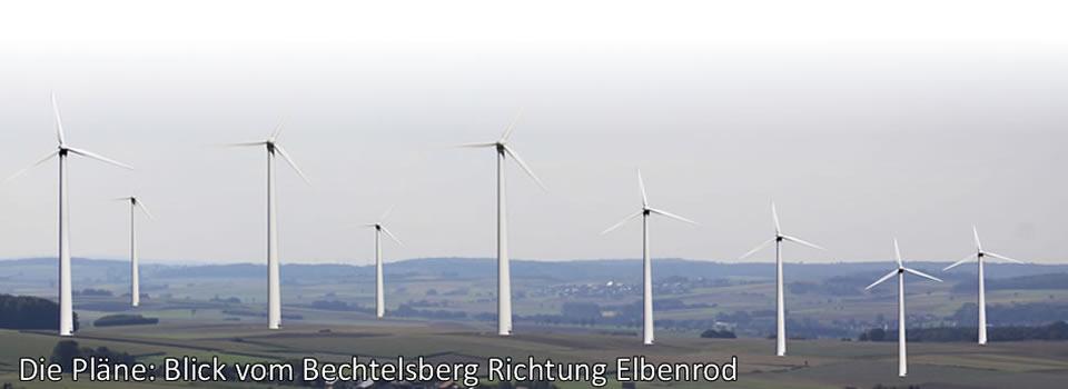 Möglicher Blick vom Bechtelsberg in Richtung Elbenrod (Fotomontage)